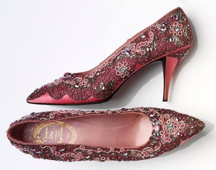 Roger Vivier (1907—98) for Christian Dior (1905—57) Evening shoes Beaded silk and leather France, 1958—60 V&A: T.149+A—1974. Image © Victoria and Albert Museum, London