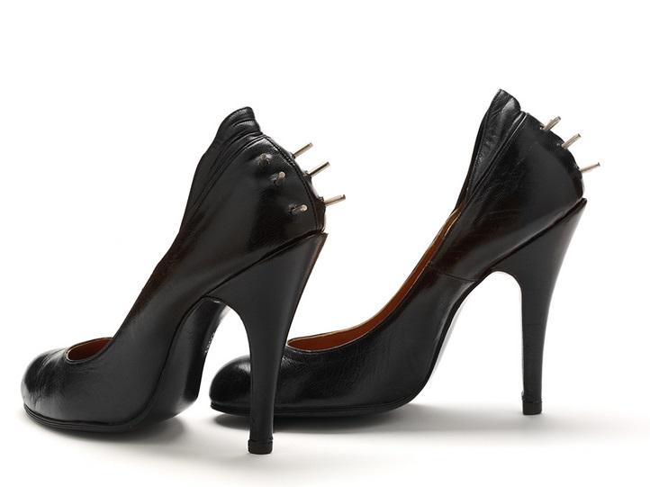 Spiky shoes, 1974, London, Malcolm McLaren and Vivienne Westwood, From the 'Sex' collection, Leather and metal, Purchased with the assistance of the Art Fund, the Friends of the V&A, the Elsbeth Evans Trust, and the Dorothy Hughes Bequest, V&A: T.82:1, 2-2002.
