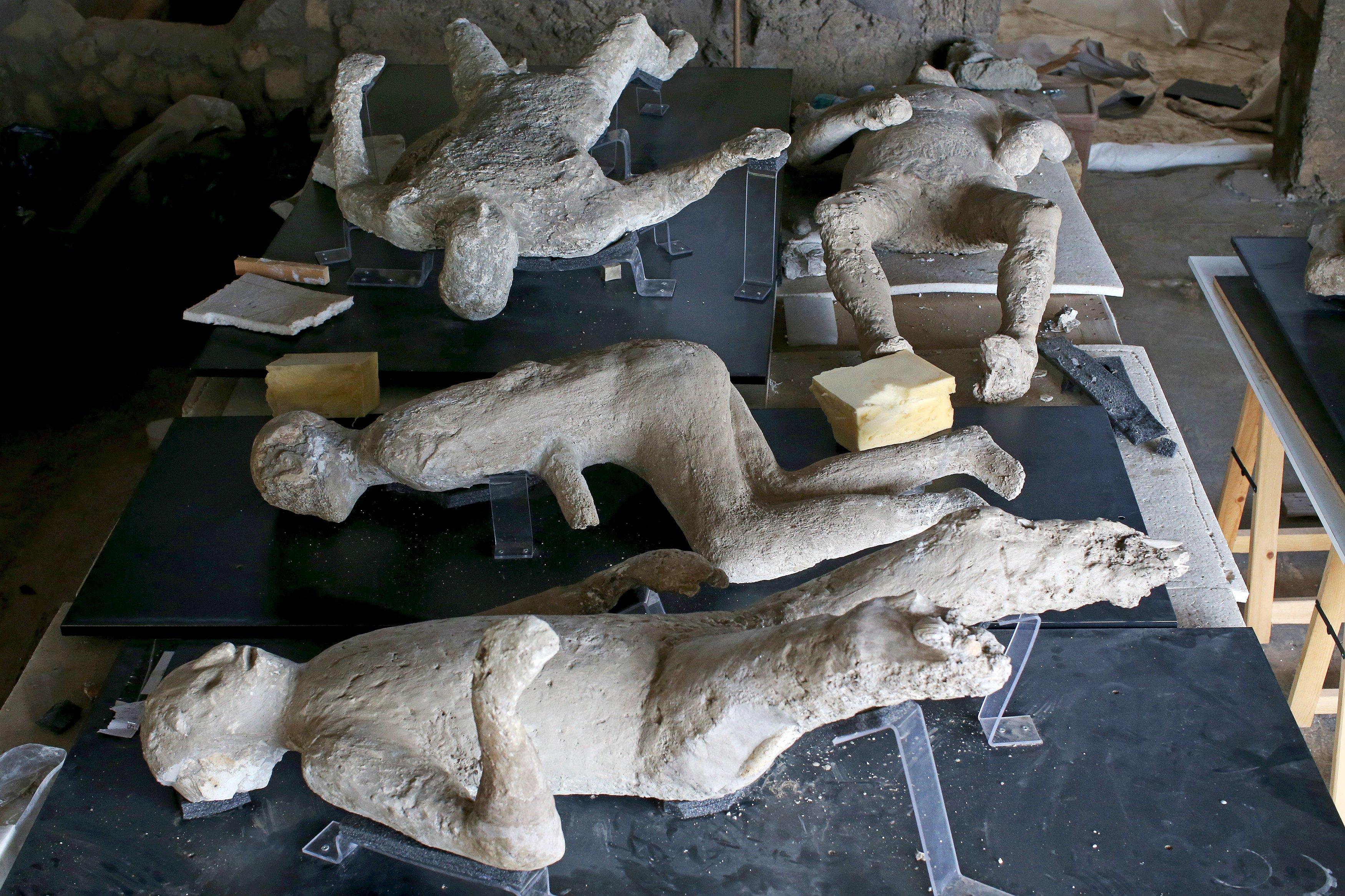 Cetakan gips dari korban letusan Gunung Vesuvius terbaring di meja display di sebuah laboratorium di Pompeii, Selasa (13/10). Sebuah tim ahli yang terdiri dari arkeologis, radiologis, ortodontis dan antropologis pada September 2015 mulai menggunakan teknologi CAT scan untuk melihat ke dalam cetakan gips dari korban Pompeii, dalam sebuah penelitian untuk menambahkan detail pada penemuan sebelumnya. 16 lapis scan harus digunakan untuk bisa menembus gips tapi hasil menunjukkan sisa-sisa rangka dan gigi yang hampir sempurna. Foto diambil tanggal 13 oktober 2015. ANTARA FOTO/REUTERS/Alessandro Bianch.