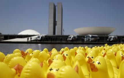 """Bebek karet terlihat di depan Dewan Nasional dalam aksi protes menentang peningkatan pajak di Brasilia, Brasil, Kamis (1/10). Kampanye """"aku tidak akan membayar Bebek"""" diselenggarakan oleh Federasi Industri Sao Paulo (FIESP) dan menggunakan simbol bebek mewakili perusahaan industri yang membayar pajak tinggi. ANTARA FOTO/REUTERS/Ueslei Marcelino."""