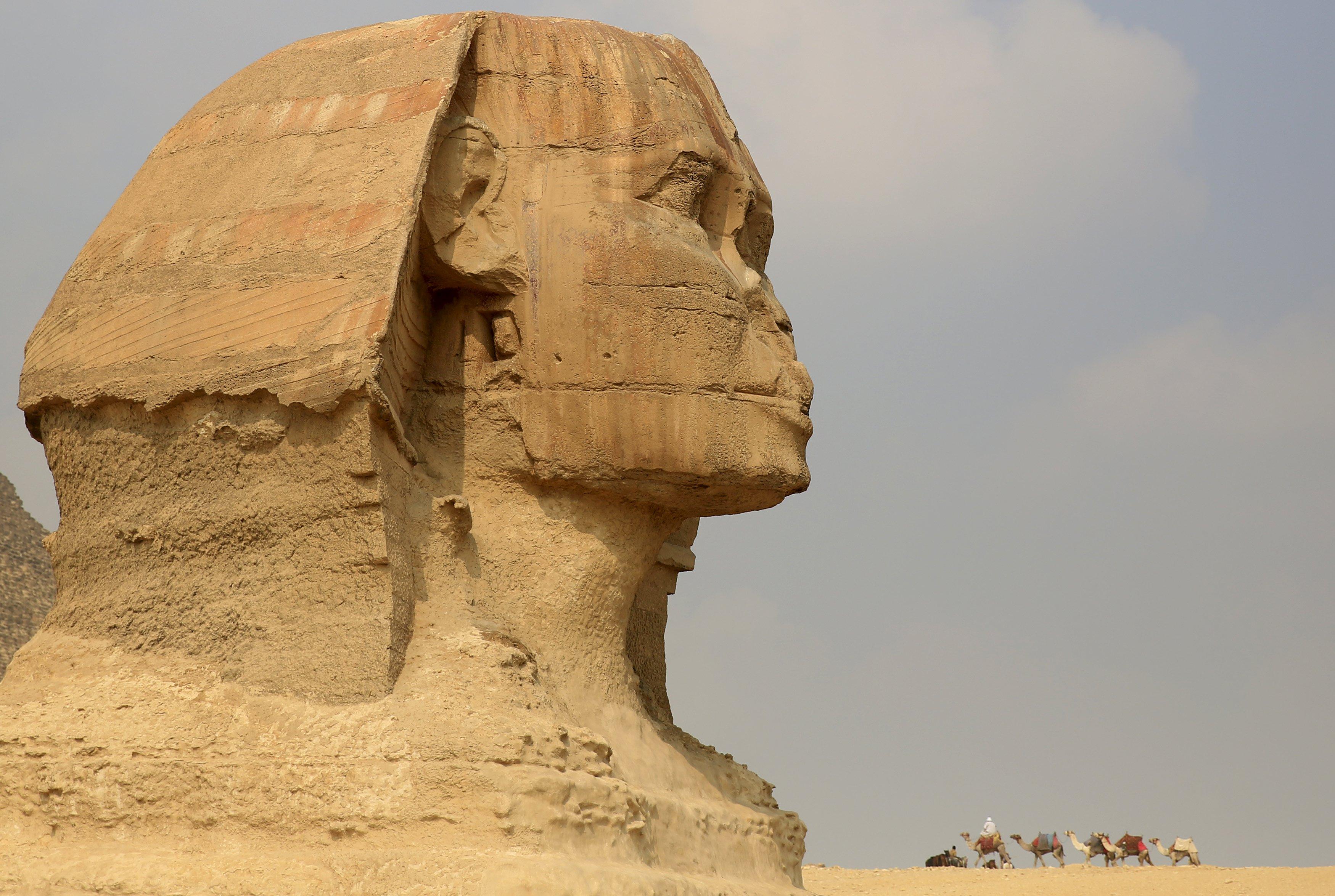 Seorang pekerja menaiki unta saat ia menunggu turis di depan Sphinx di Piramida Giza di pinggiran Kairo, Mesir, Minggu (8/11). Menteri Pariwisata Mesir Hesham Zaazou menyatakan bahwa Kairo menyesalkan penangguhan penerbangan dan melakukan semua hal untuk mengamankan bandara dan lokasi pariwisata, menambahkan bahwa ia akan terbang ke Sharm al-Sheikh untuk mengawasi langkah-langkah yang mendukung turis disana. REUTERS/Amr Abdallah Dalsh.