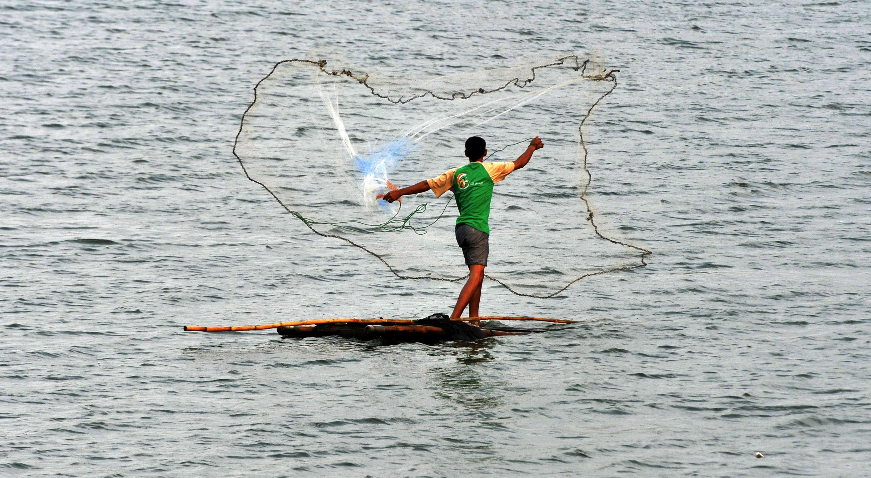 Nelayan menjala ikan tawar di Danau Barombong Makassar, Sulawesi Selatan, Minggu (8/11). Habitat ikan tawar di Makassar terancam punah karena banyak rawa tempat ikan tawar yang dibangun perumahan. ANTARA FOTO/Yusran Uccang.