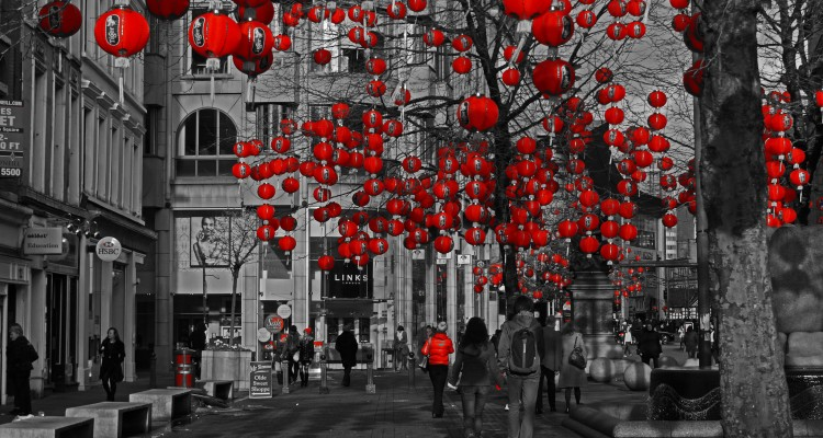 Lanterns in St Annes Square, Manchester, for the Chinese New Year. Flickr - Gidzy.